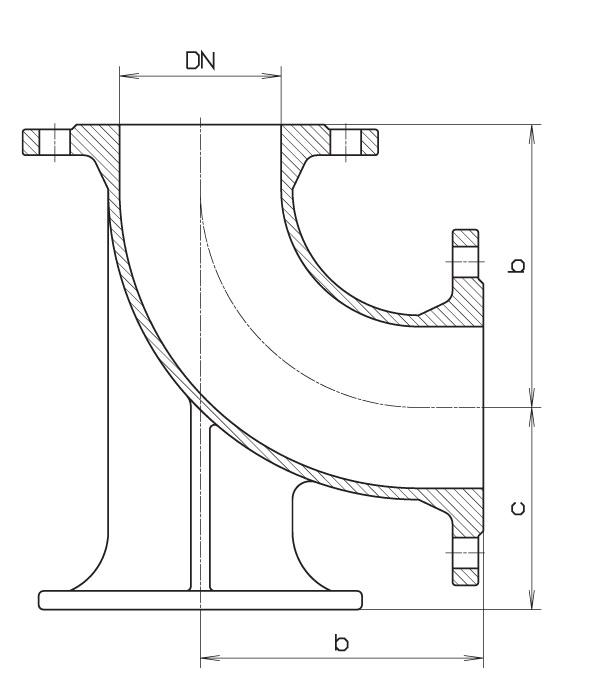 Чертеж для Пожарная подставка тупиковая фланцевая Hawle 5049 (колено фланцевое с опорой) DN100