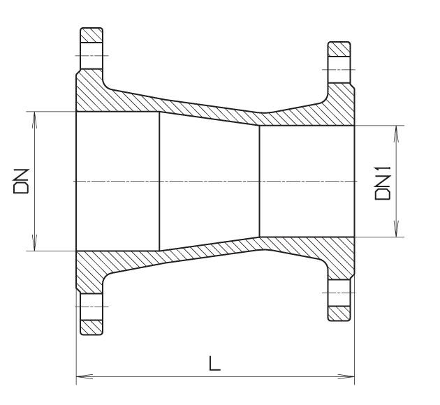 Чертеж для Переход чугунный фланцевый Hawle 8550 (редукция) DN150-100