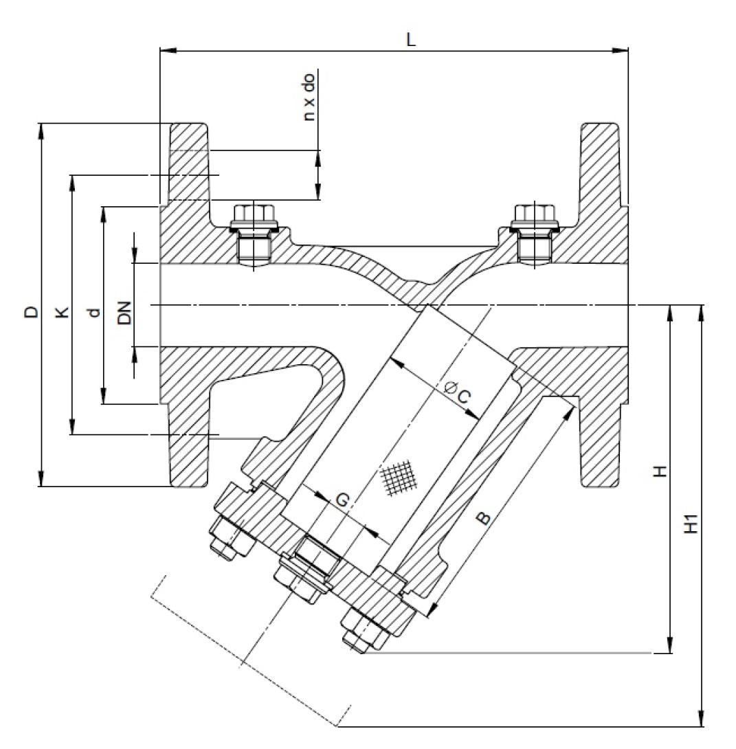 Чертеж для Фильтр сетчатый фланцевый чугунный Zetkama 821A DN15