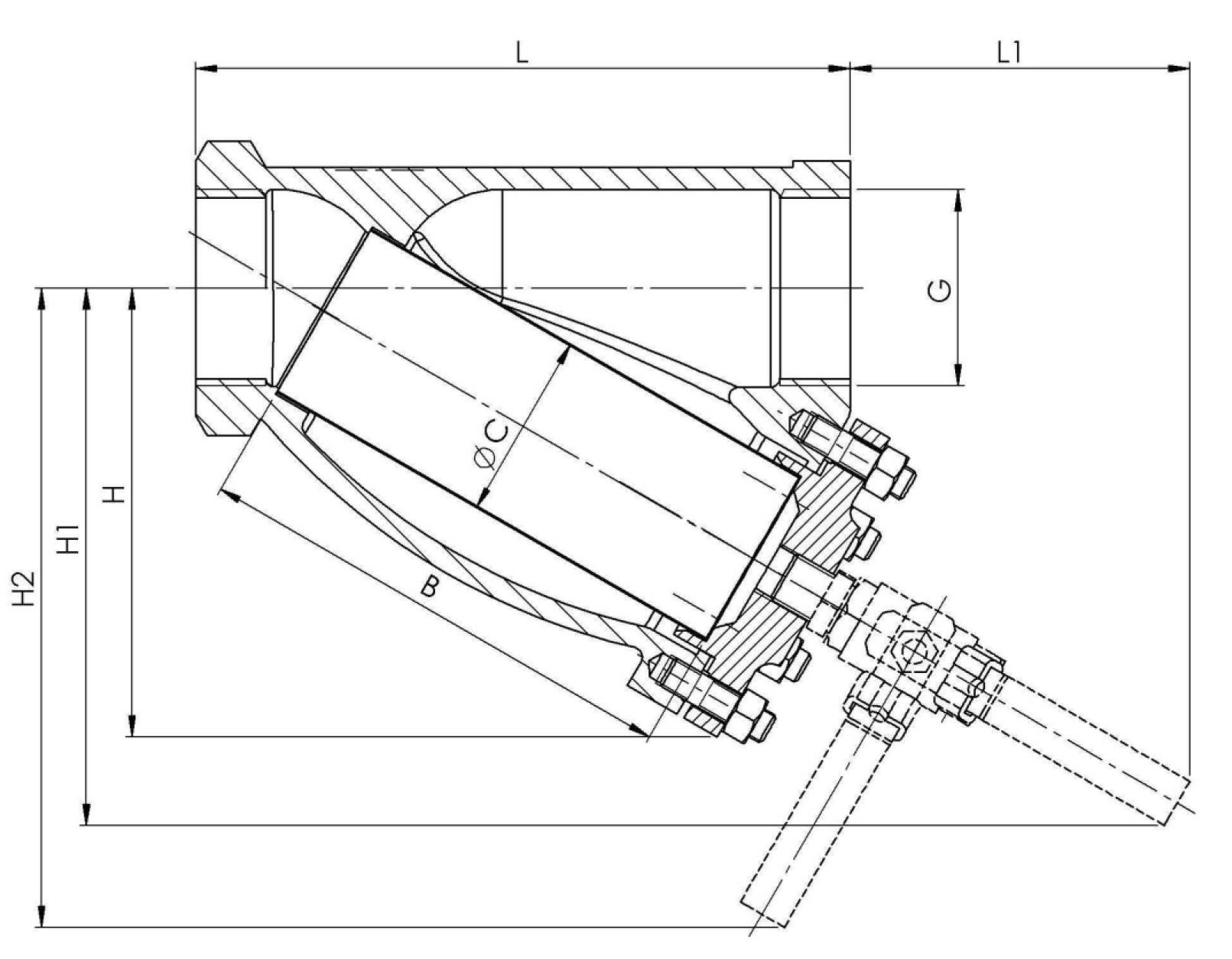 Чертеж для Фильтр сетчатый чугунный муфтовый Zetkama 823 DN50