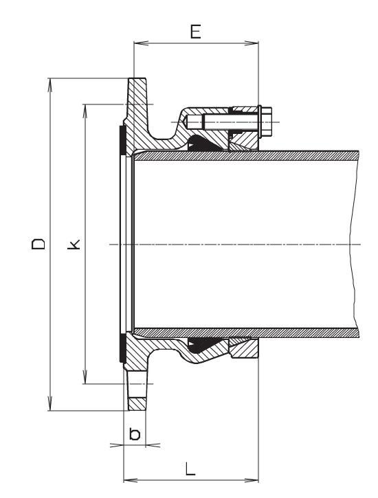 Чертеж для Фланец фиксирующий Hawle 0400 System 2000 для ПЭ и ПВХ труб DN500