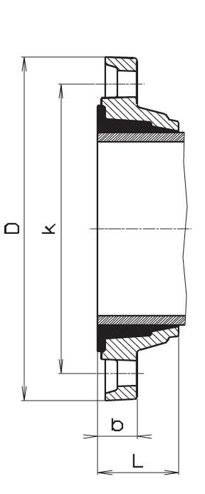 Чертеж для Фланец двухкамерный Hawle 7101 для стальных труб
