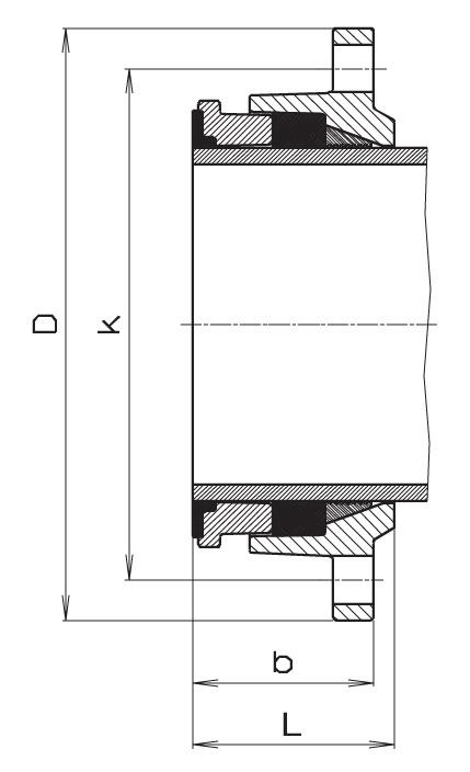 Чертеж для Фланец фиксирующий Hawle 7601 для стальных труб