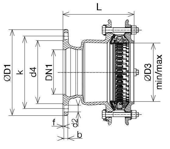 Чертеж для Фланец универсальный соединительный Hawle Synoflex 7994 DN65
