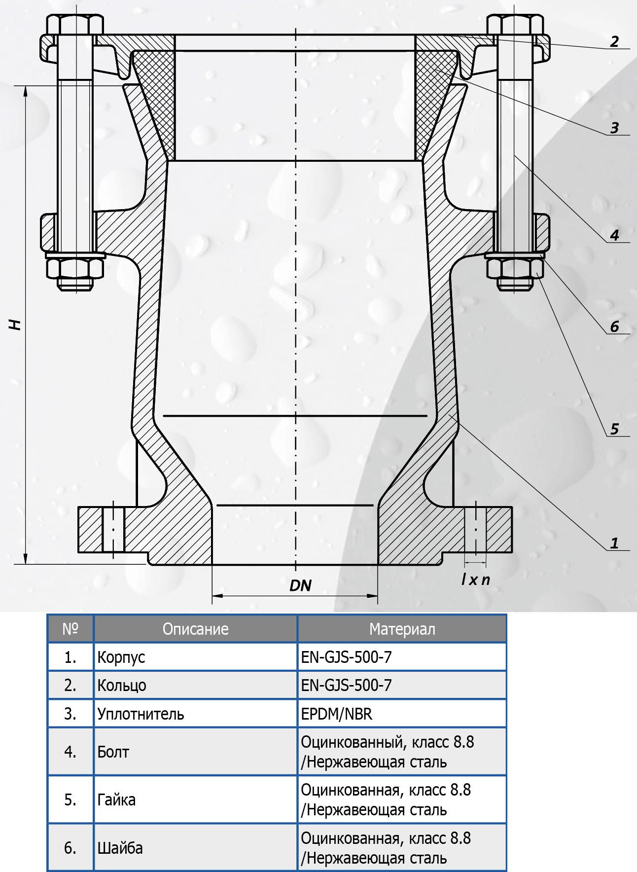 Чертеж для Фланец универсальный соединительный Norson RK SFERO DN150
