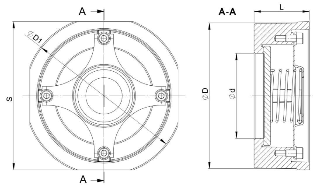 Чертеж для Обратный клапан межфланцевый Zetkama 275 дисковый из нержавеющей стали DN65