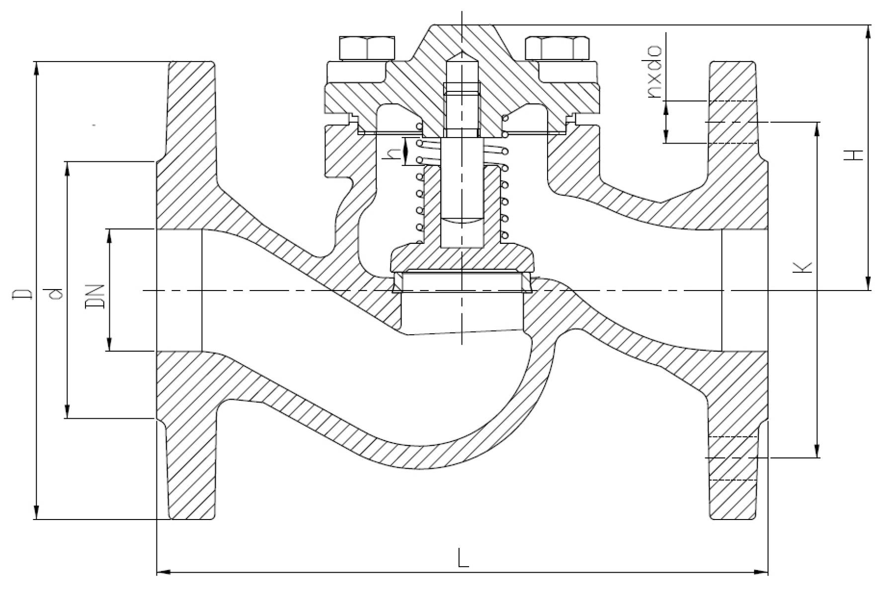 Чертеж для Обратный клапан стальной фланцевый Zetkama арт. 287F (подъемный) DN25