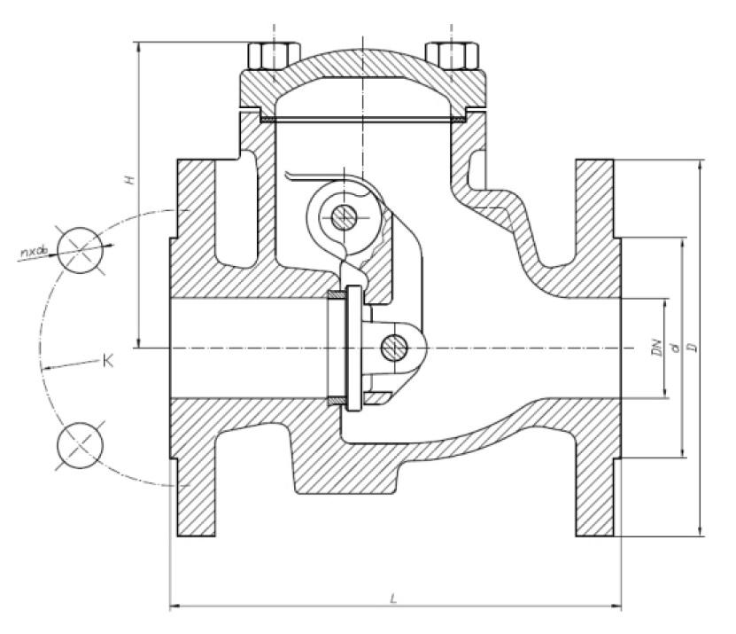 Чертеж для Обратный клапан чугунный фланцевый Zetkama арт. 302 (поворотный) DN200