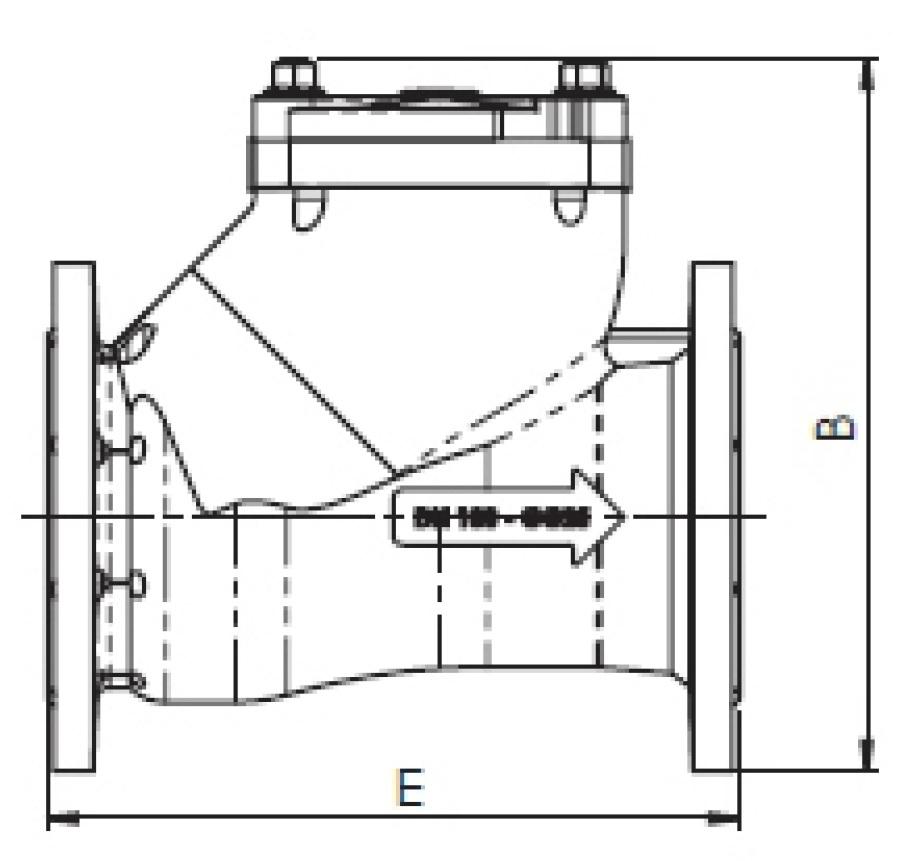 Чертеж для Клапан обратный шаровый чугунный фланцевый Zetkama арт. 400 DN100