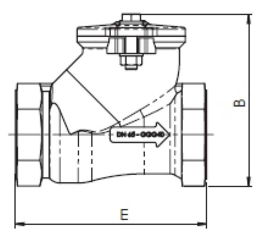 Чертеж для Клапан обратный шаровый чугунный муфтовый Zetkama арт. 401 DN40