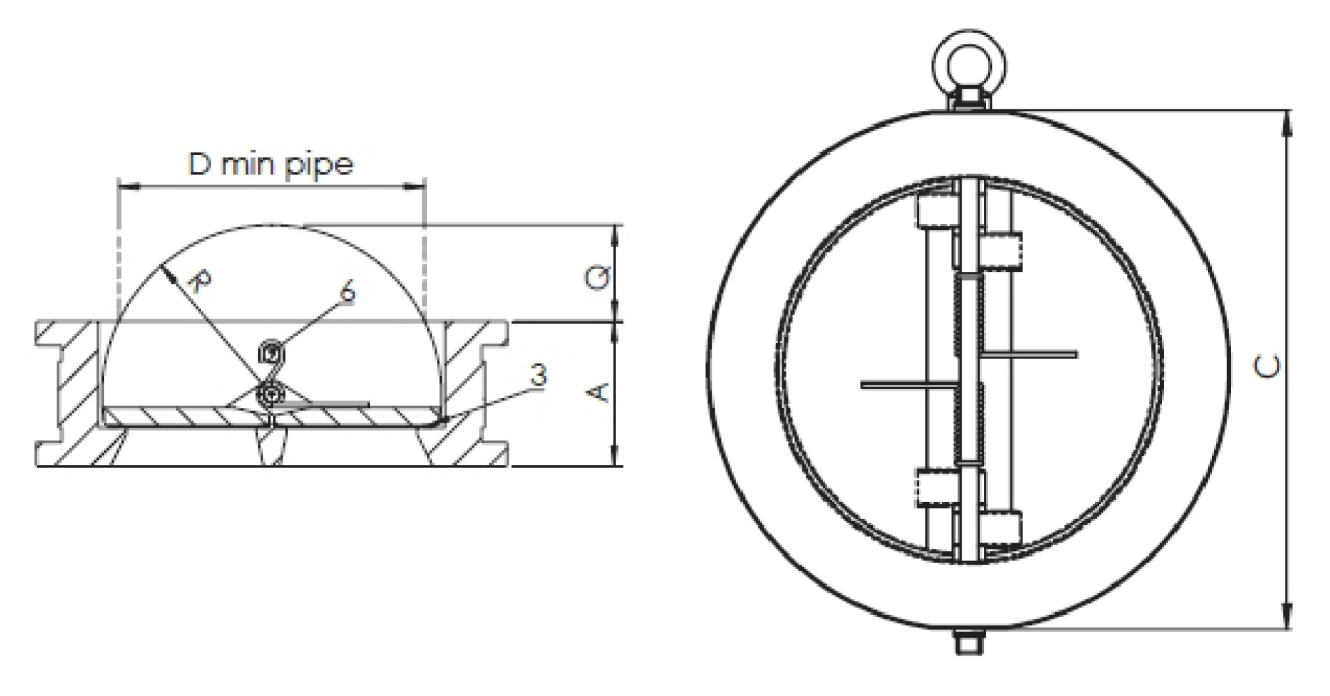 Чертеж для Обратный клапан чугунный межфланцевый Zetkama арт. 407  (подпружиненный) DN80