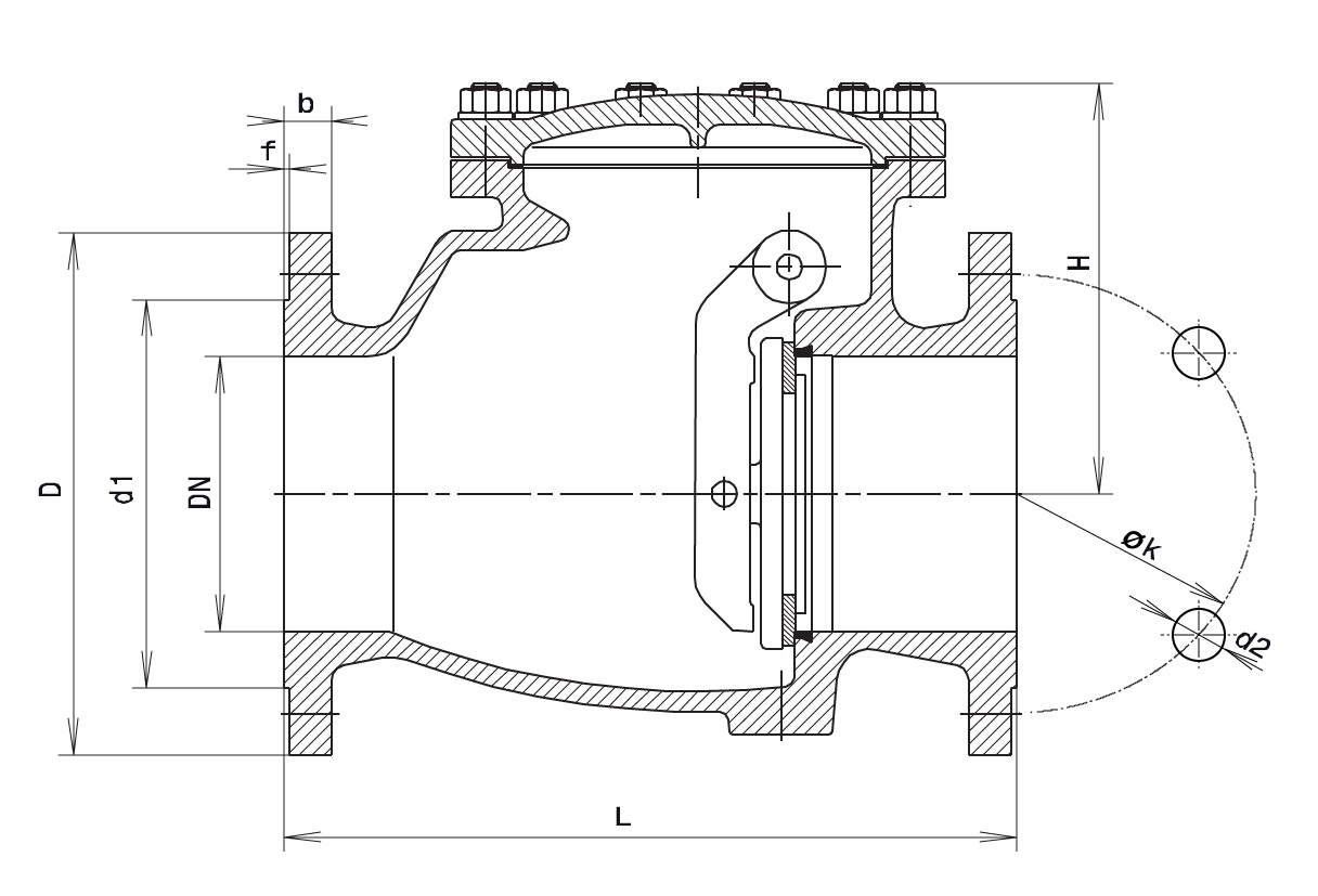 Чертеж для Обратный клапан фланцевый Hawle 9830