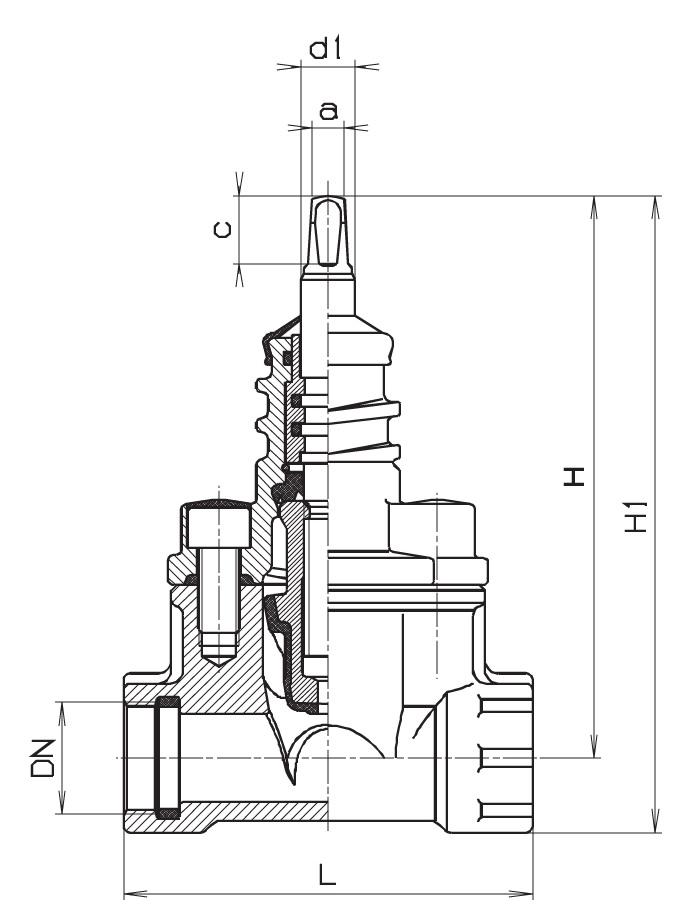 Чертеж для Вентиль запорный Hawle 2500 внутренняя резьба с двух сторон DN25