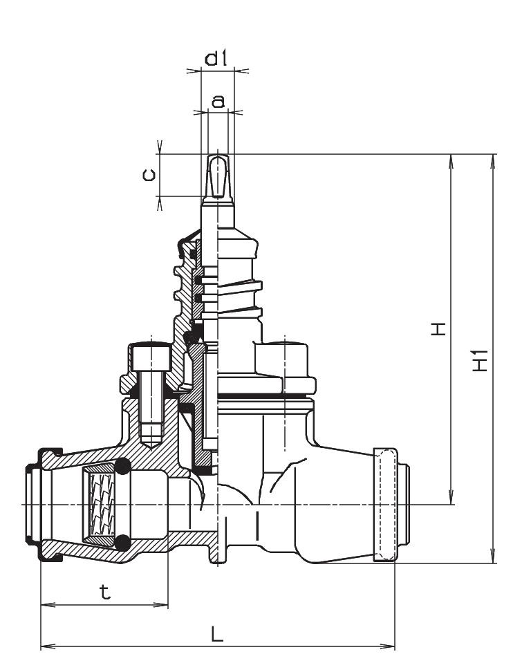 Чертеж для Вентиль Hawle 2600/2630 c ISO-фитингами с двух сторон DN40