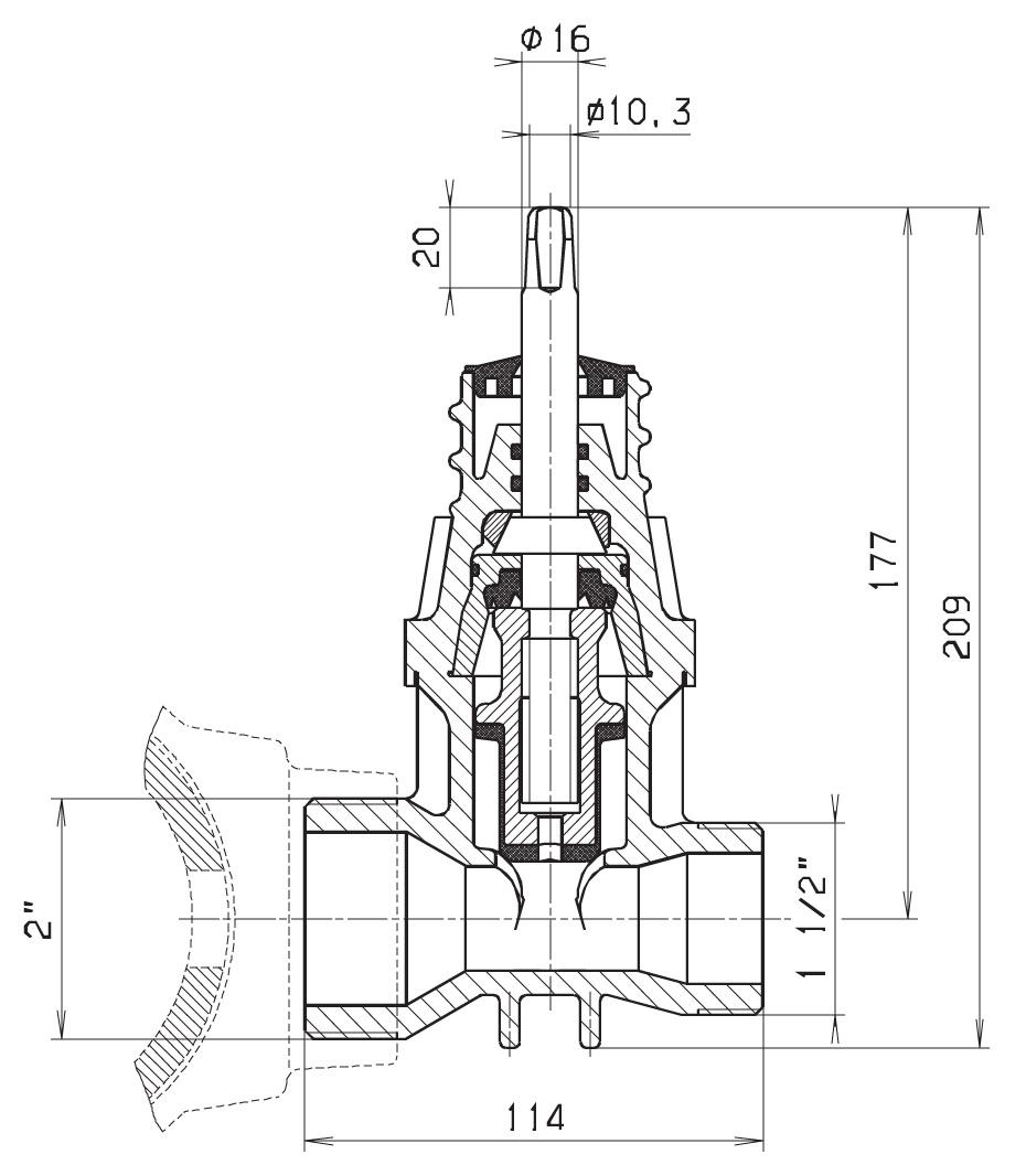 Чертеж для Вентиль Hawle 2681 врезной с насадками ISO 6221F