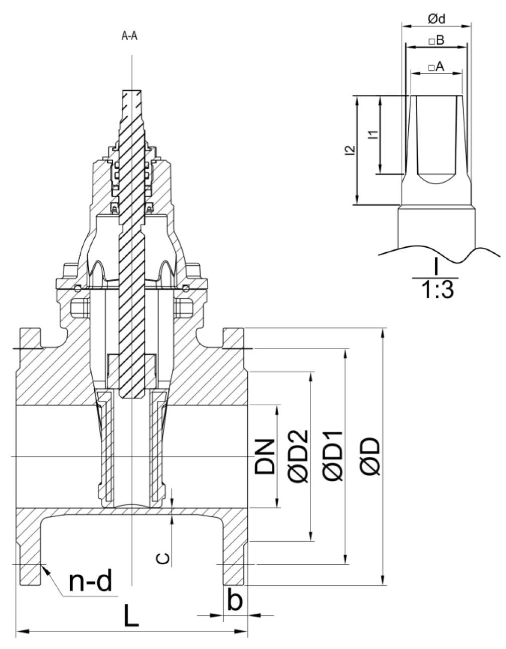 Чертеж для Задвижка чугунная фланцевая Zetkama арт. 111D с (обрезиненным клином) DN125 PN16