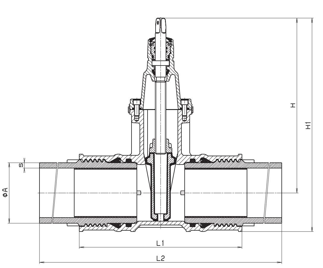 Чертеж для Задвижка клиновая чугунная фланцевая Hawle 4050E2 (с ПЭ патрубками)