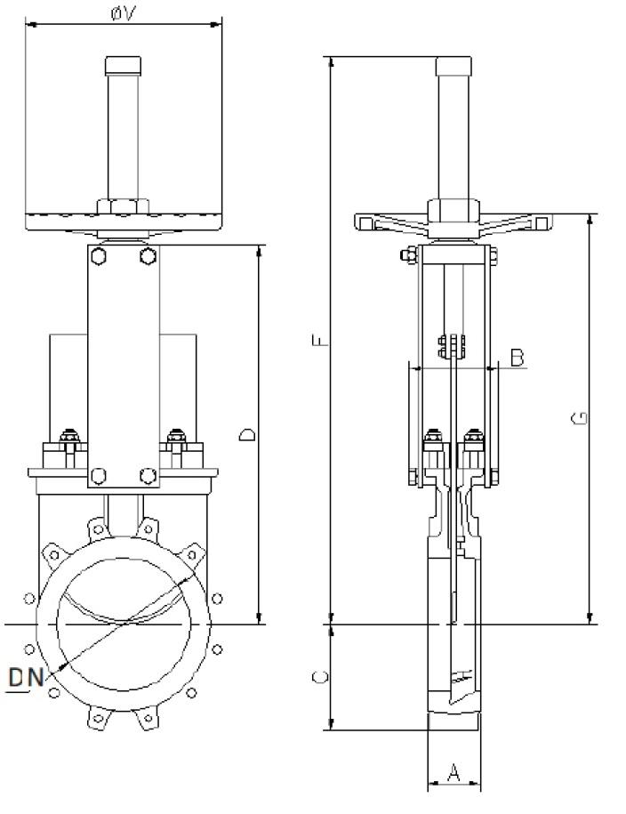 Чертеж для Шиберная задвижка Zetkama 120 с выдвижным шпинделем PN10 DN300