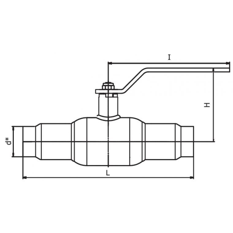 Кран шаровый INTERVAL под приварку полнопроходной ДУ100