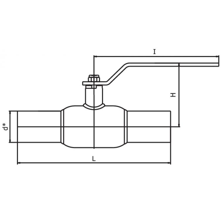 Кран шаровый INTERVAL под приварку стандартнопроходной ДУ250